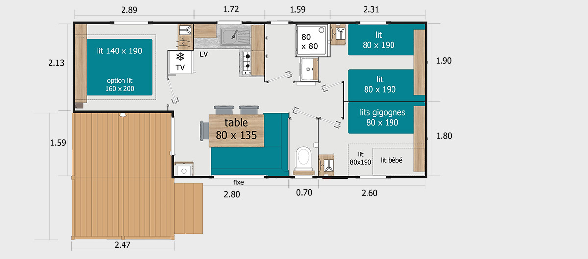Rapid'home alizée 3 chambres terrasse semi couverte gamme standard camping omaha beach plan
